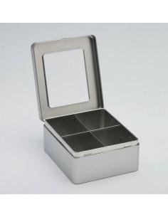 Boite à Thé Vrac - Boite métal thé en vrac - Boite 4 Compartiments avec Fenêtre